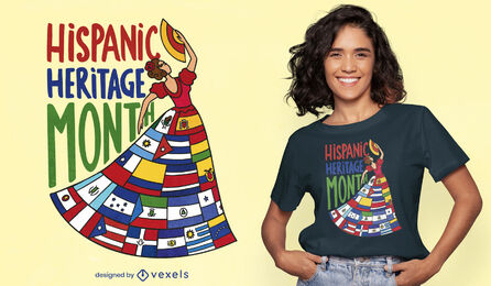 Woman with latin country flags t-shirt design