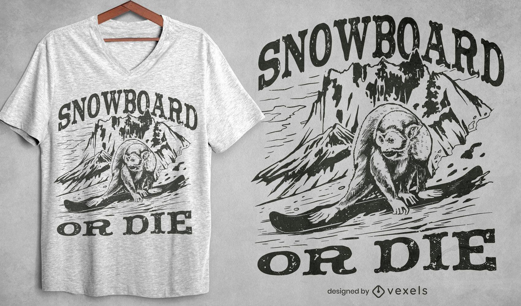 Design de camiseta de snowboard para macaco