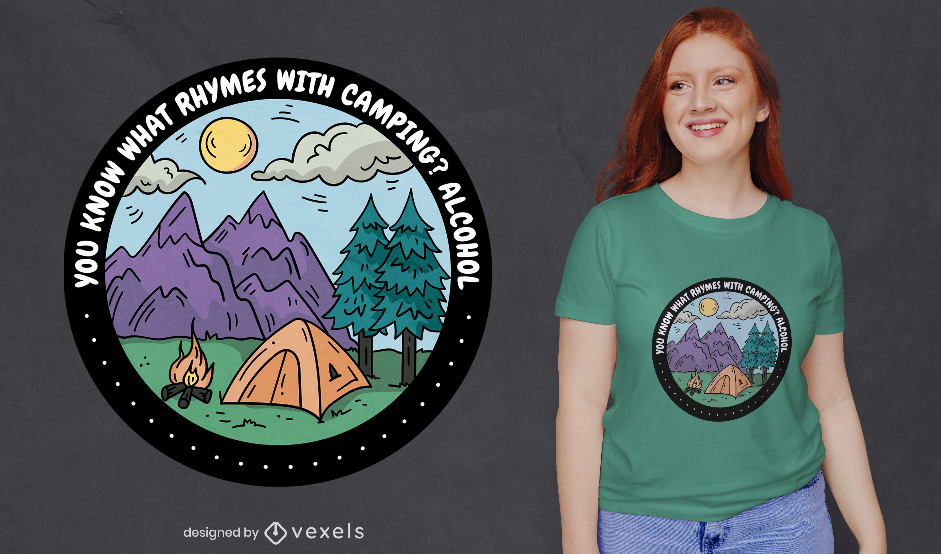 Camping with alcohol badge t-shirt design