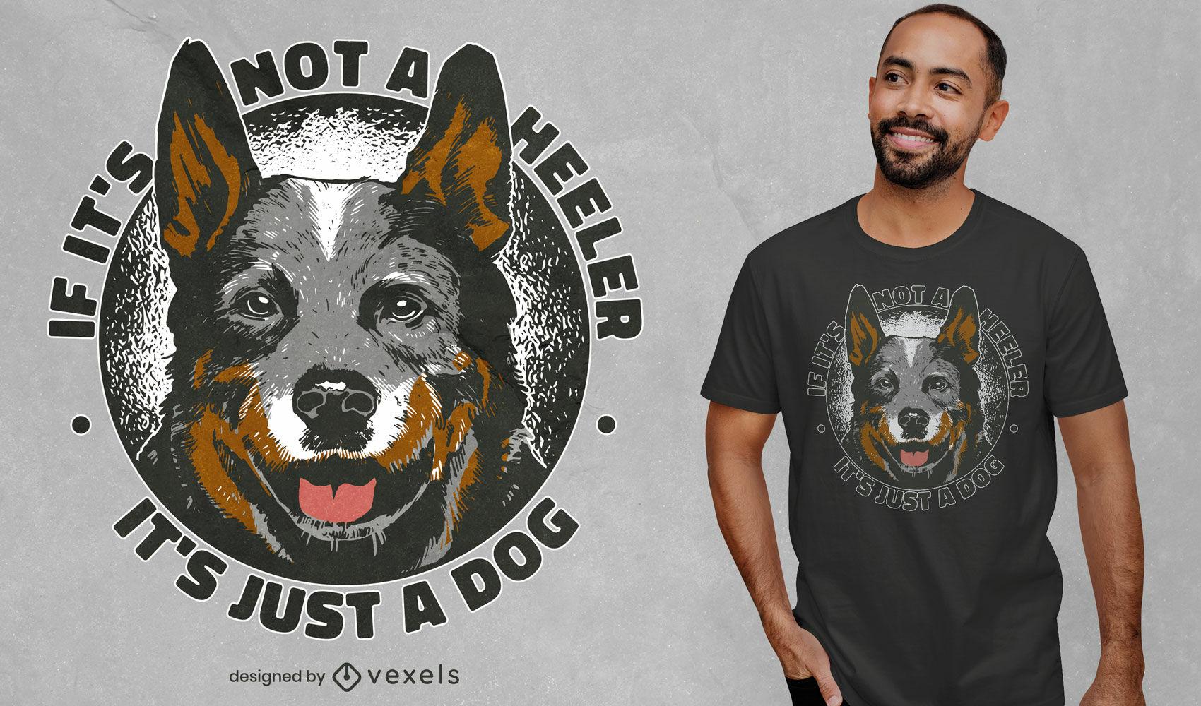 Dise?o de camiseta con insignia de animal de perro Heeler