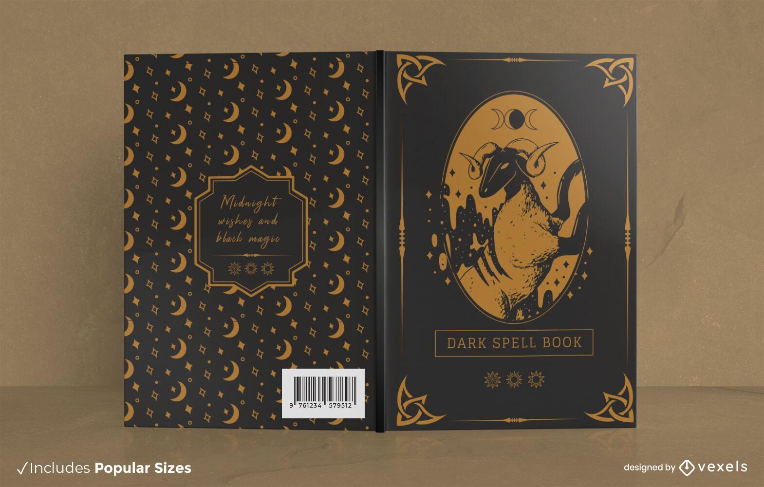 Diseño de portada de libro de hechizos de brujería oscura