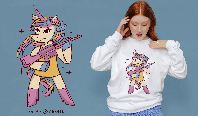 Unicornio con dise?o de camiseta de ametralladora.