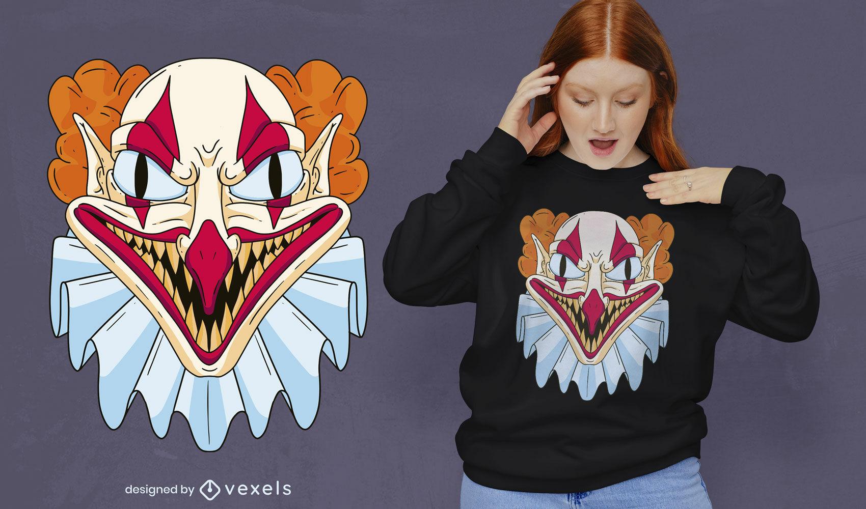 Scary Halloween clown t-shirt design