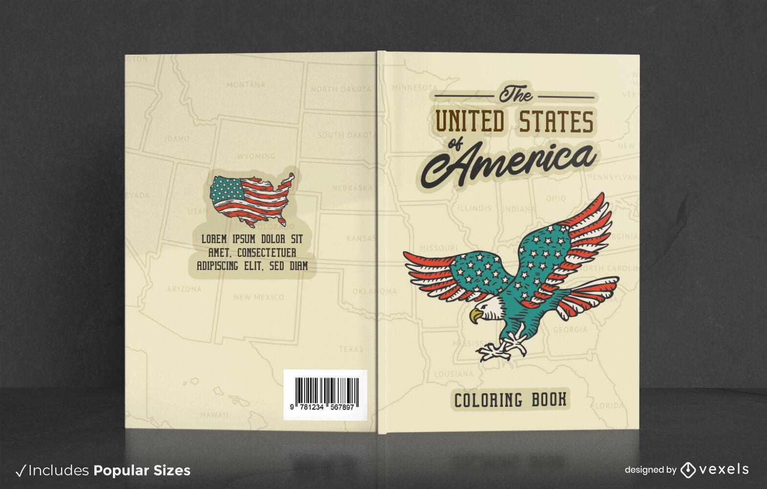 Dise?o de portada de libro para colorear de Estados Unidos