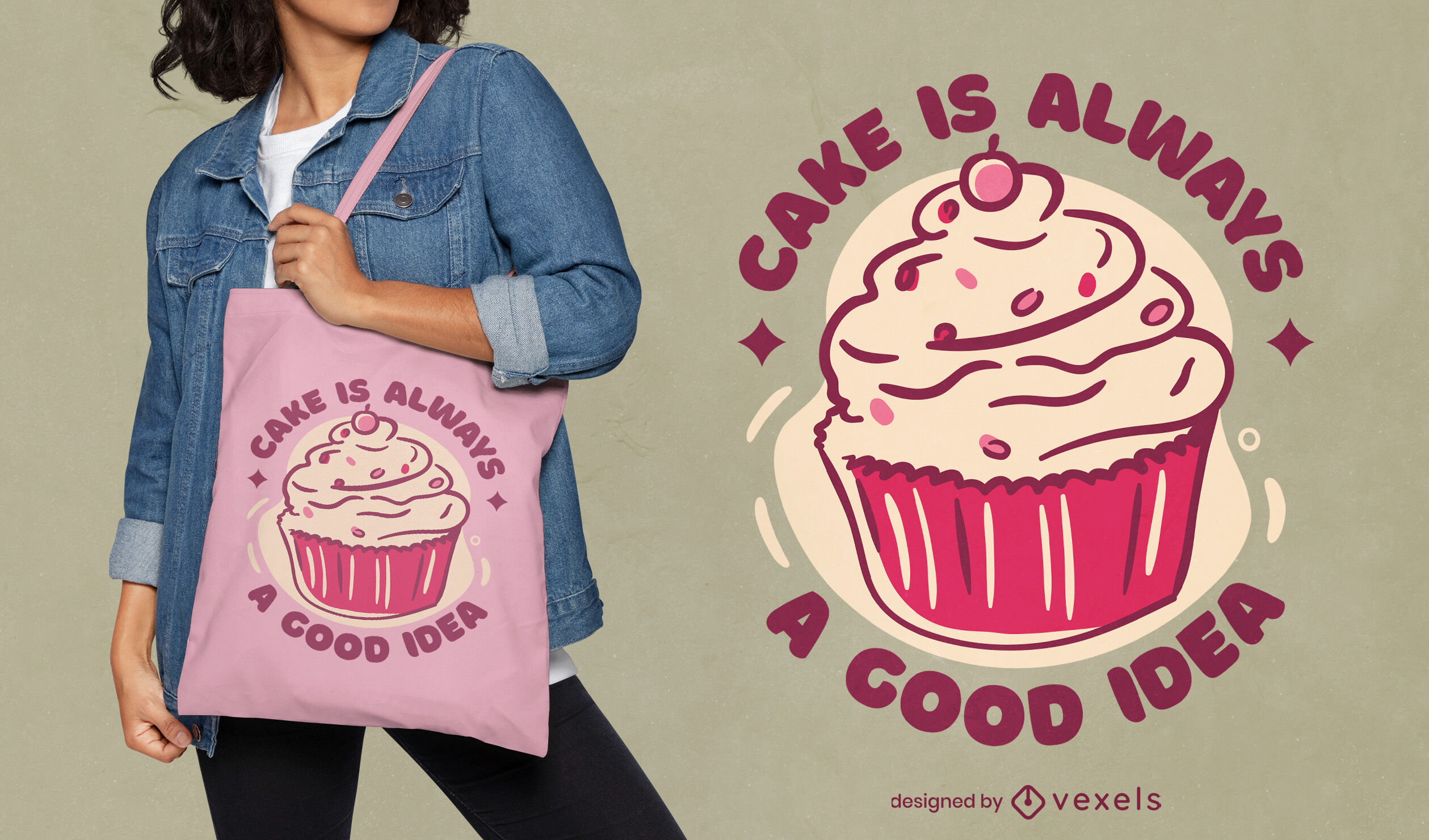 Funny cupcake quote tote bag design