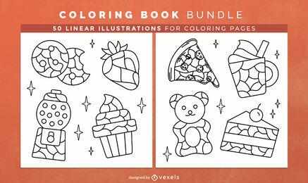 Design de interiores de livros para colorir com tema de comida