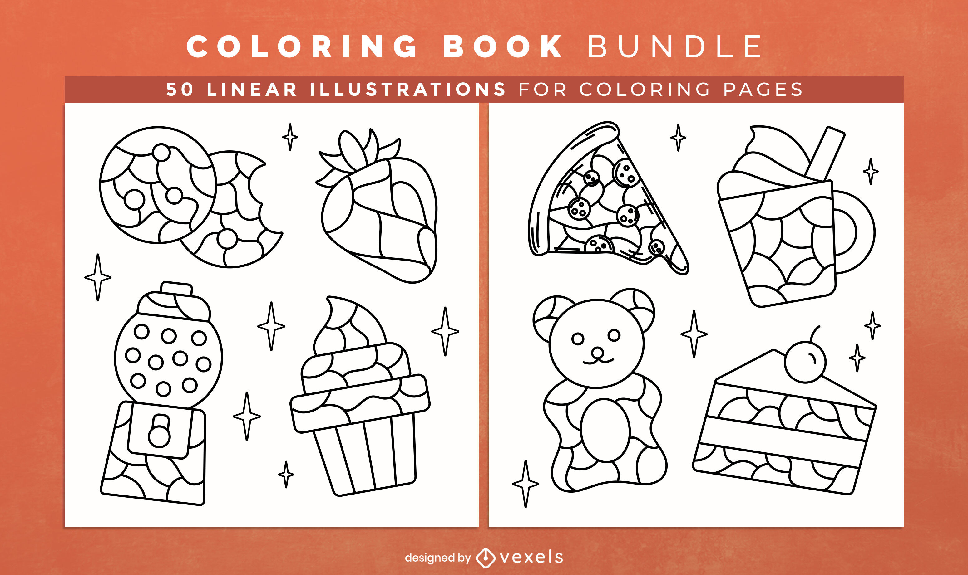 Food themed coloring book interior design