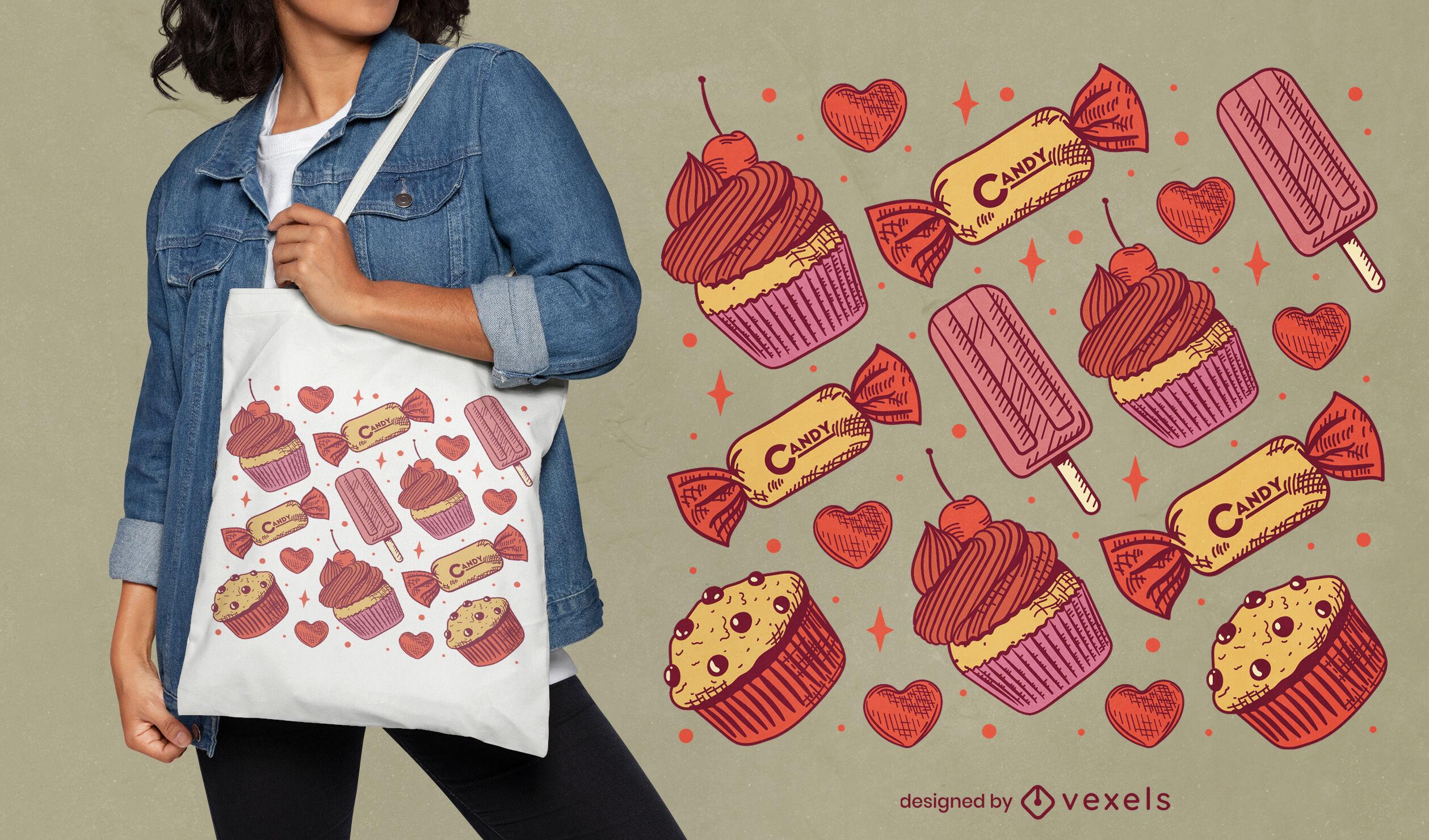 Diseño de bolso de mano de caramelos