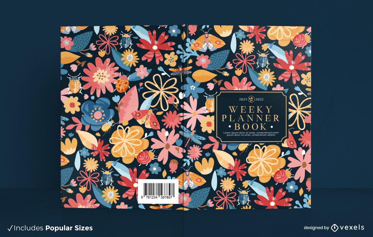 Dise?o de portada de libro de planificador semanal floral