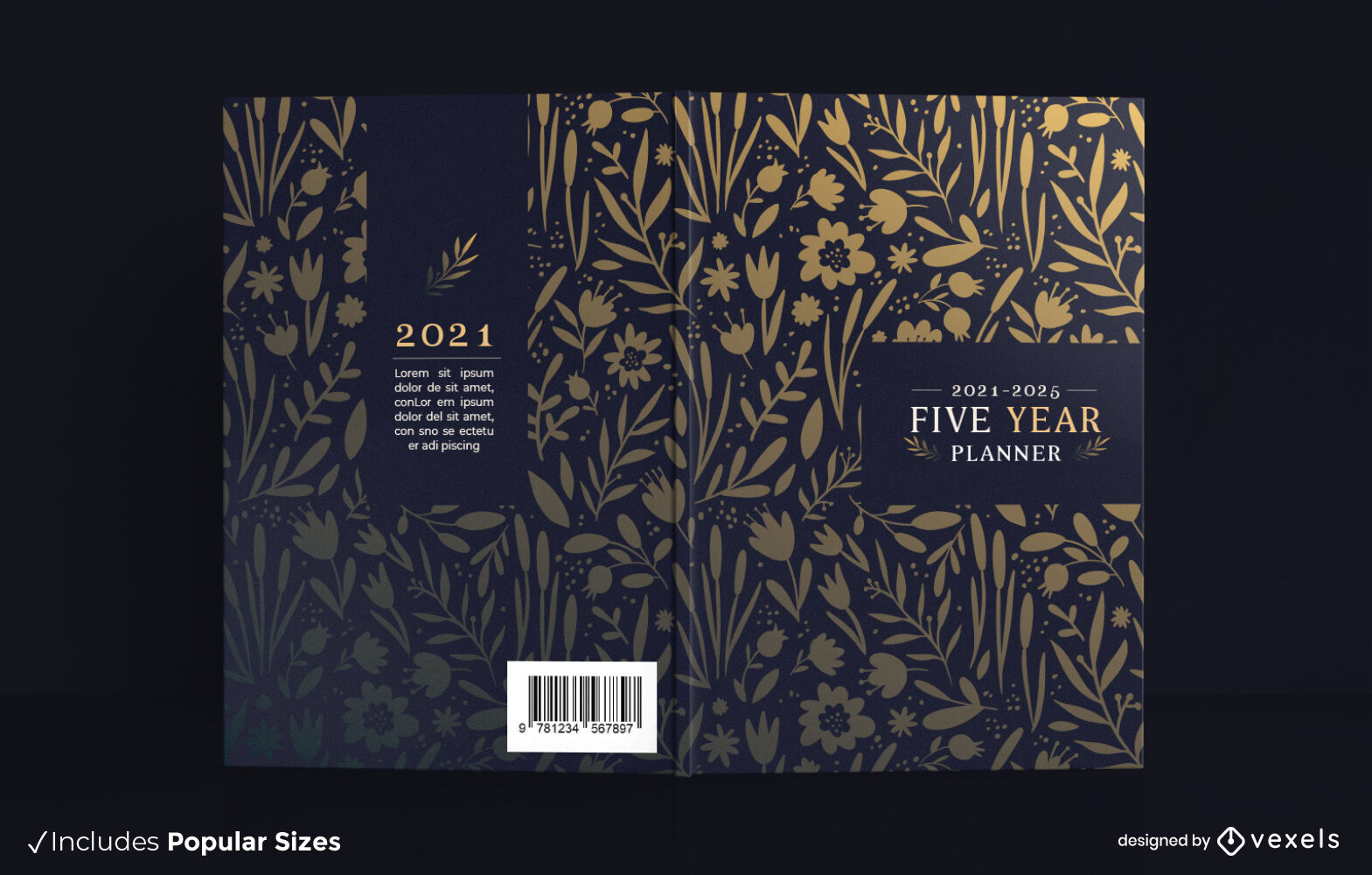 Golden flowers planner book cover design