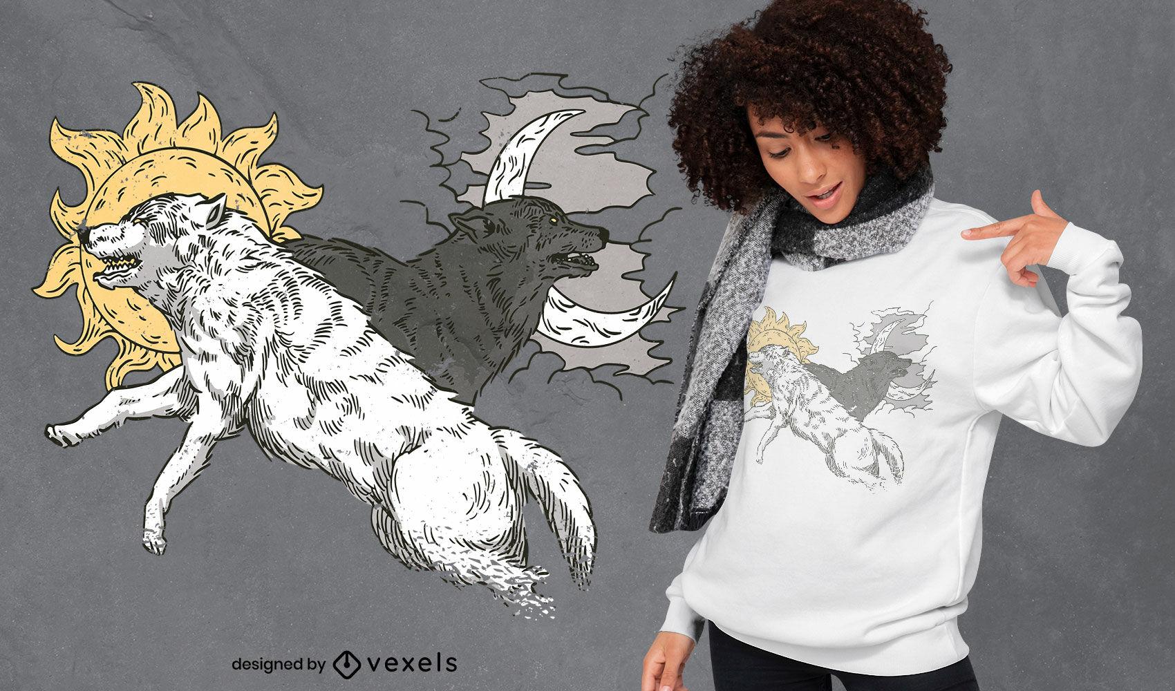 Diseño de camiseta de lobos con luna y sol.