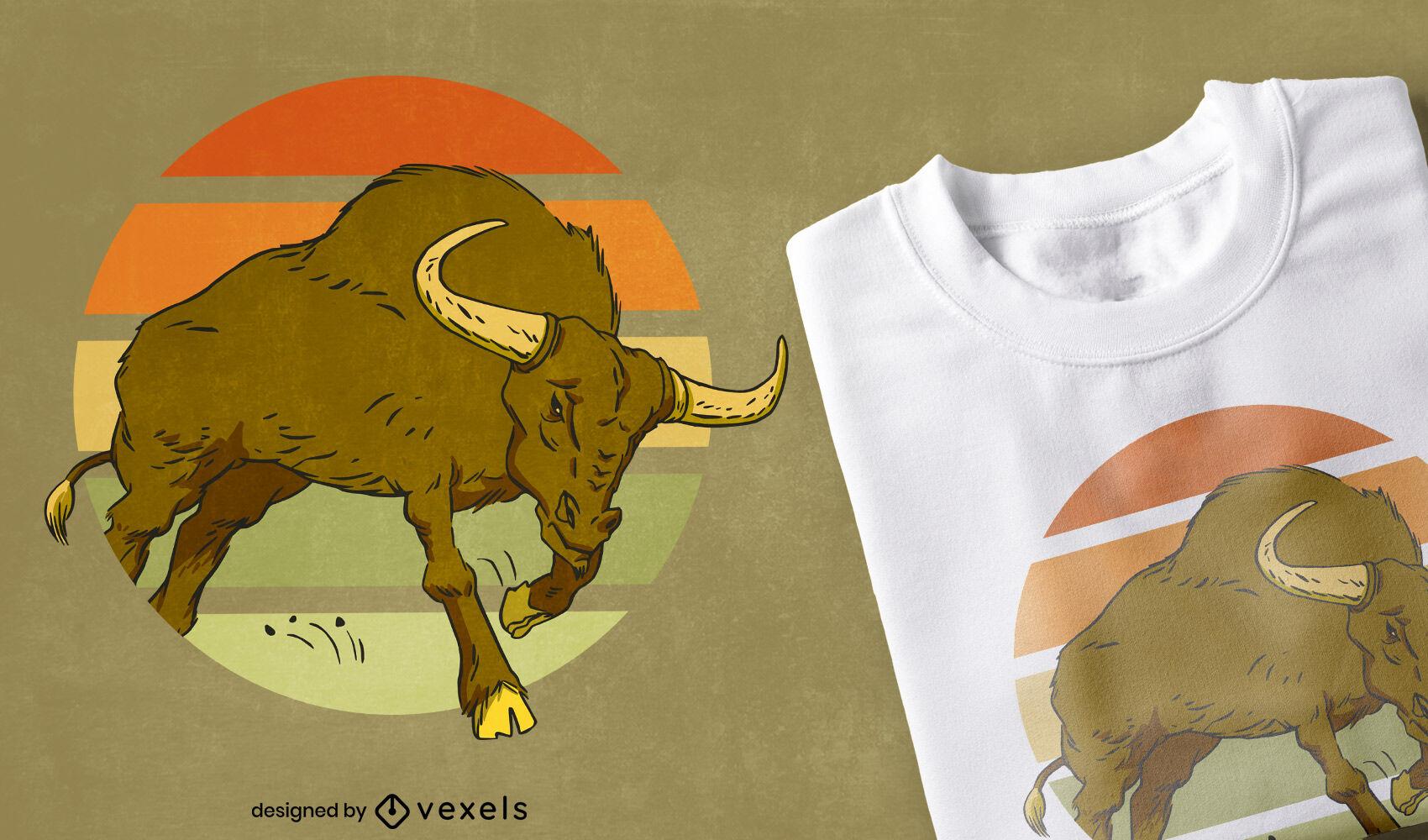 Animal de toro en dise?o de camiseta retro puesta de sol