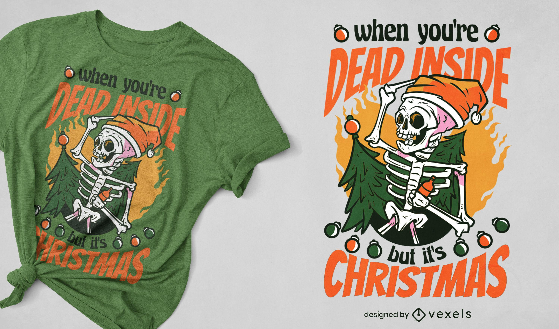 Diseño de camiseta divertida de esqueleto de navidad