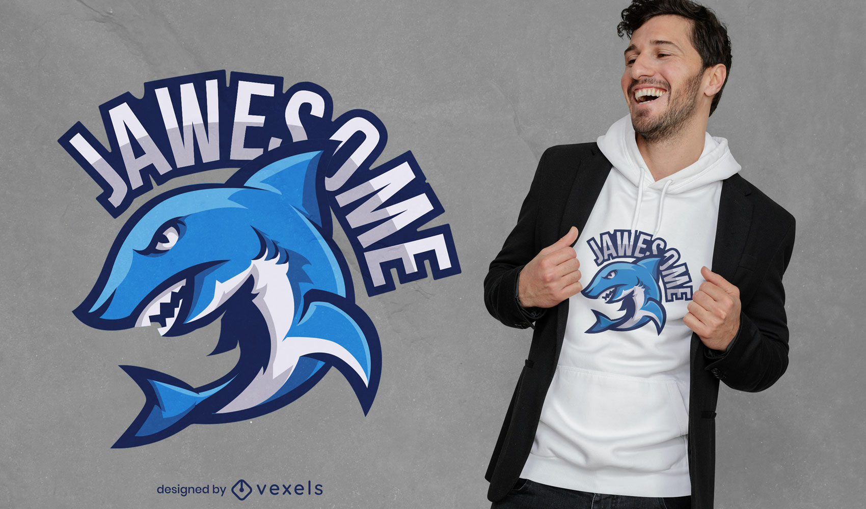 Angry shark jawesome t-shirt design