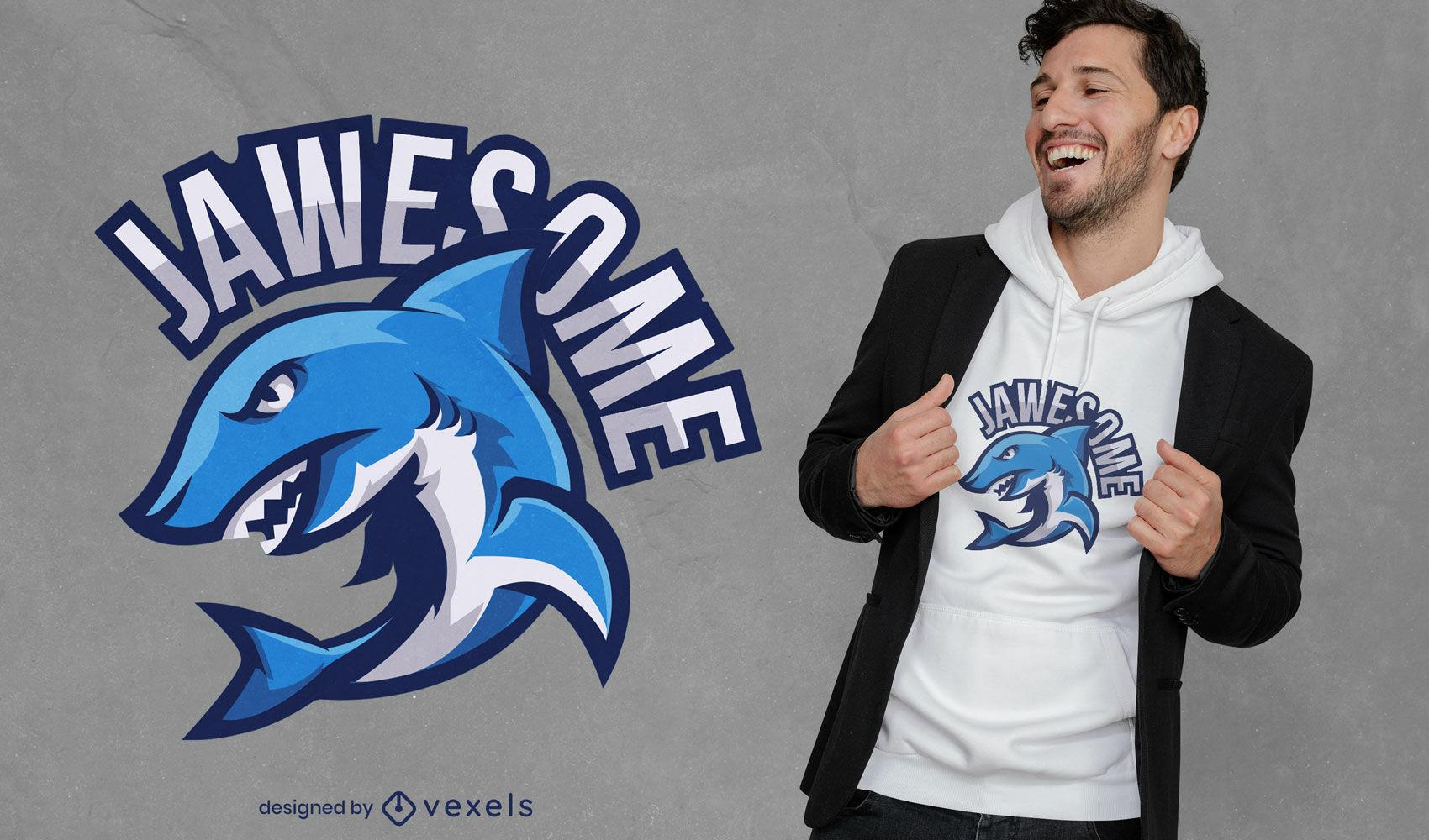 Diseño de camiseta de tiburón enojado