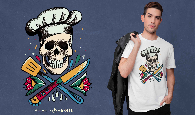 Skull cooking tattoo t-shirt design