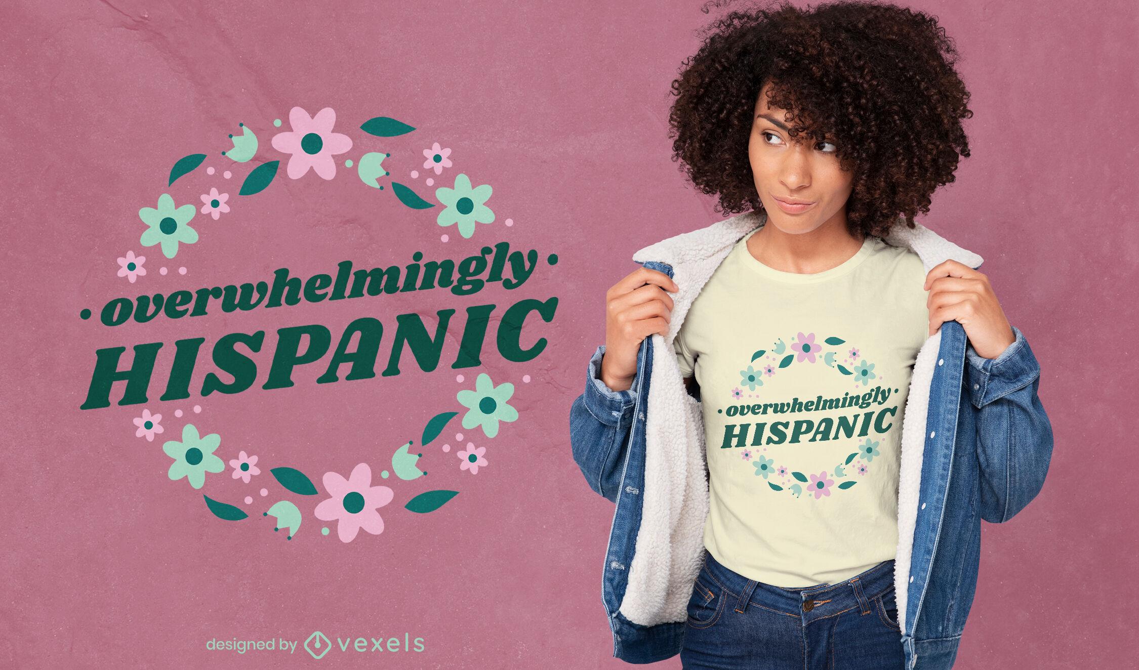 Diseño de camiseta floral de cultura hispana.