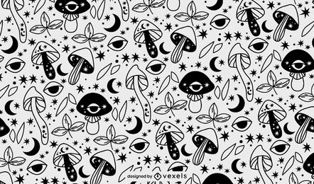 Psychedelic mushroom pattern design