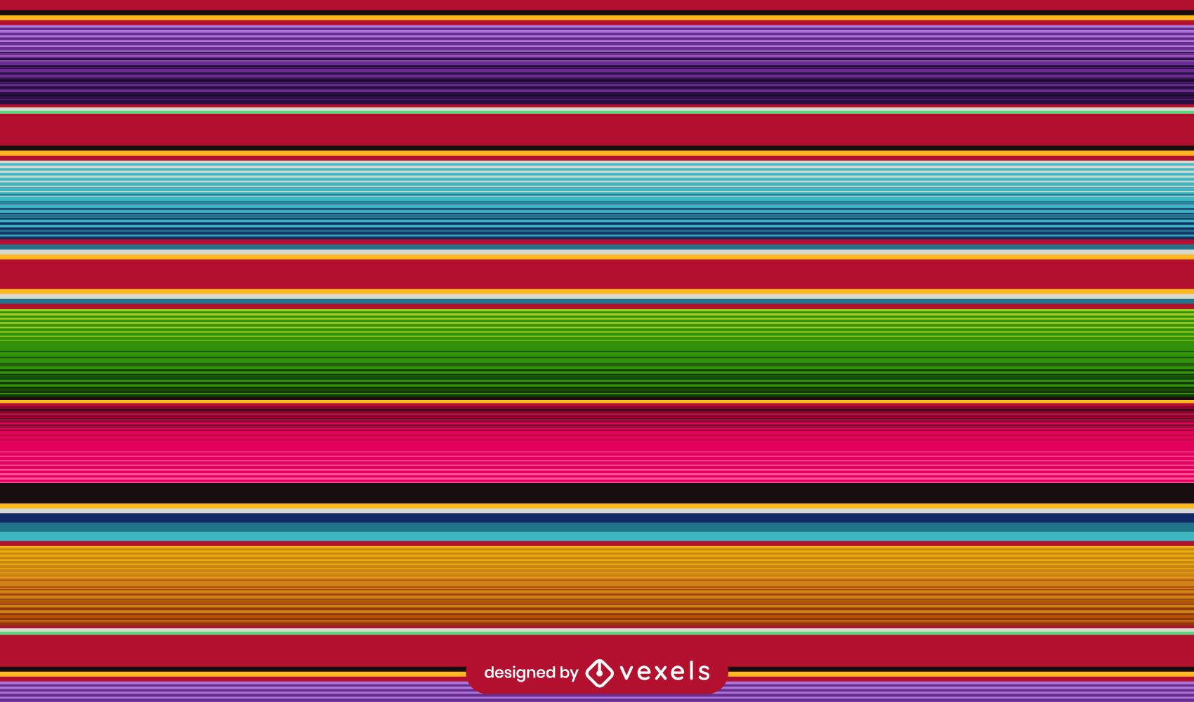 Desenho de padrão colorido de poncho mexicano