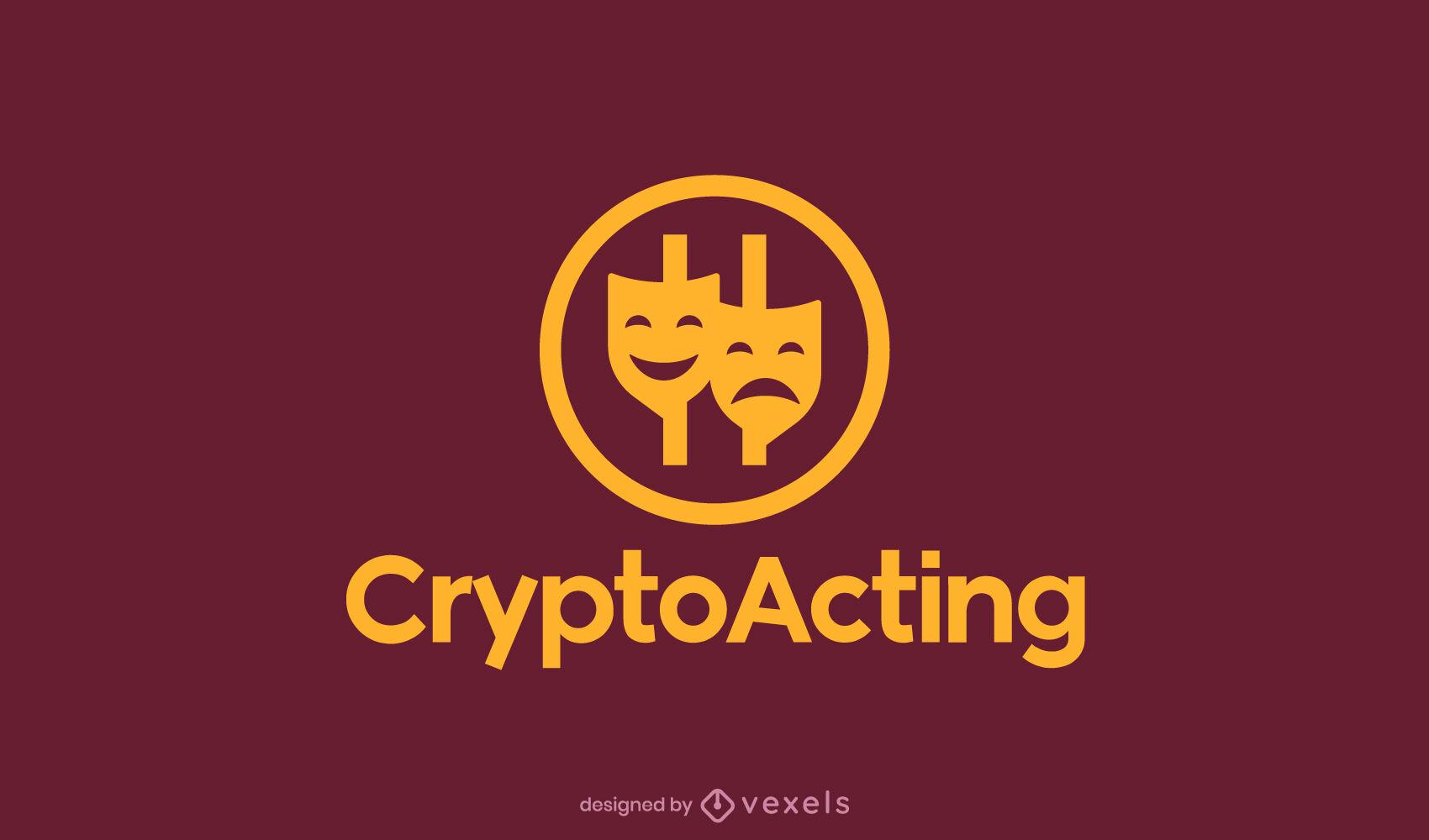 Modelo de logotipo de máscaras de teatro de criptomoeda