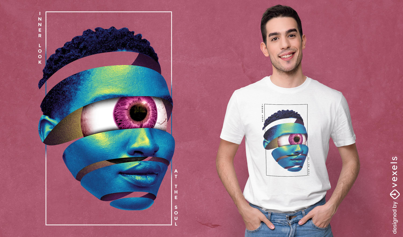 Gewundenes Frauengesicht mit riesigem Augent-shirt psd