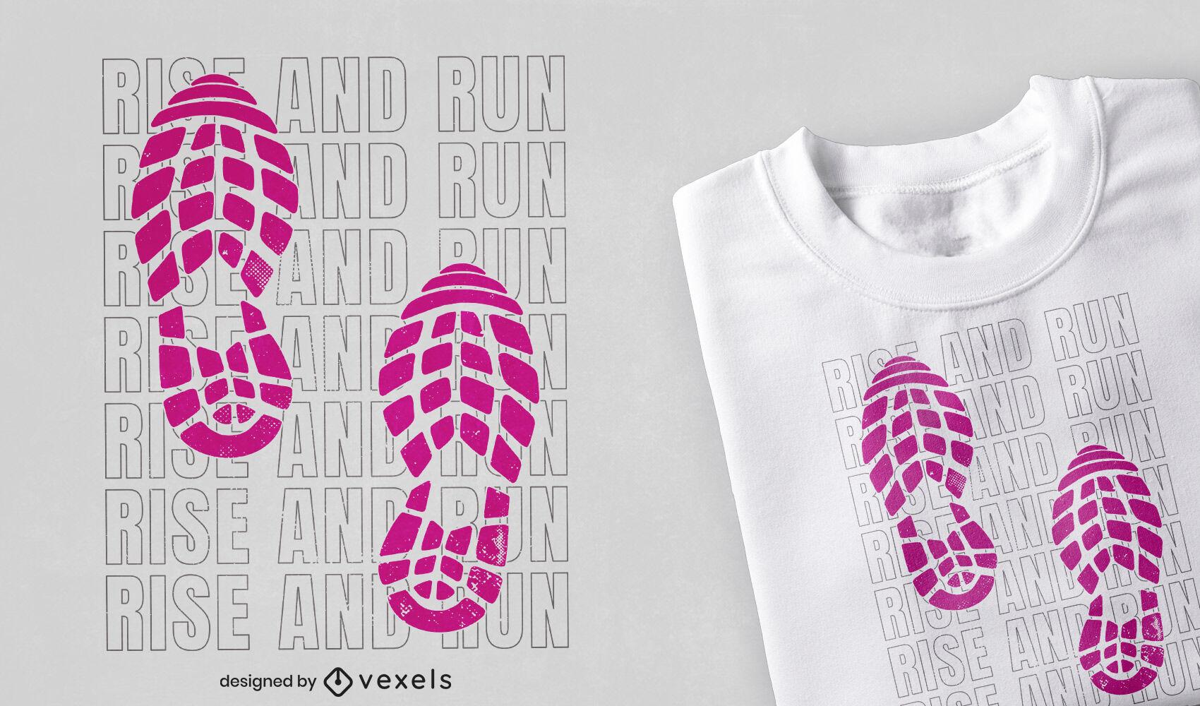 Diseño de camiseta de running con estampado de zapatos.