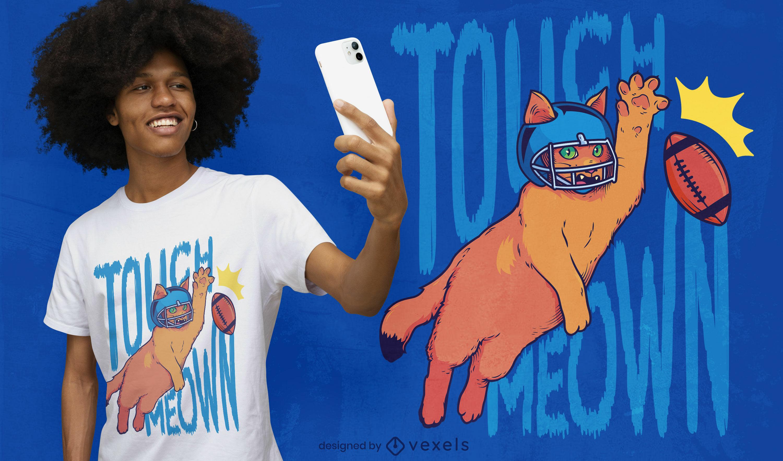 Dise?o de camiseta de jugador de f?tbol de gato animal.