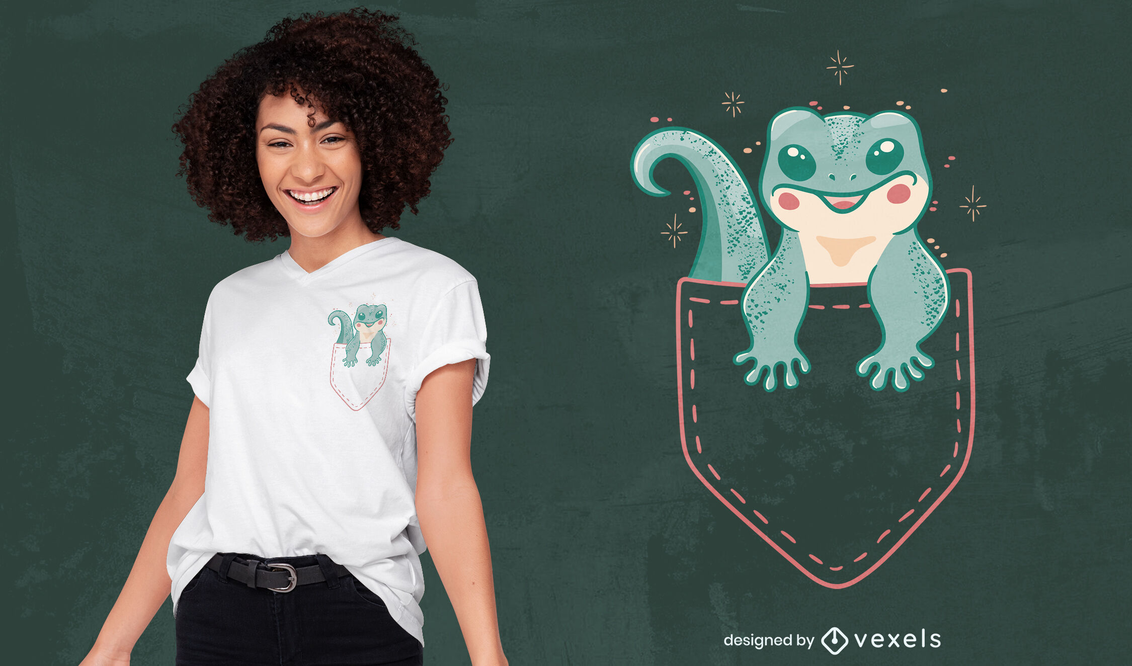 Cute gecko lizard on pocket t-shirt design