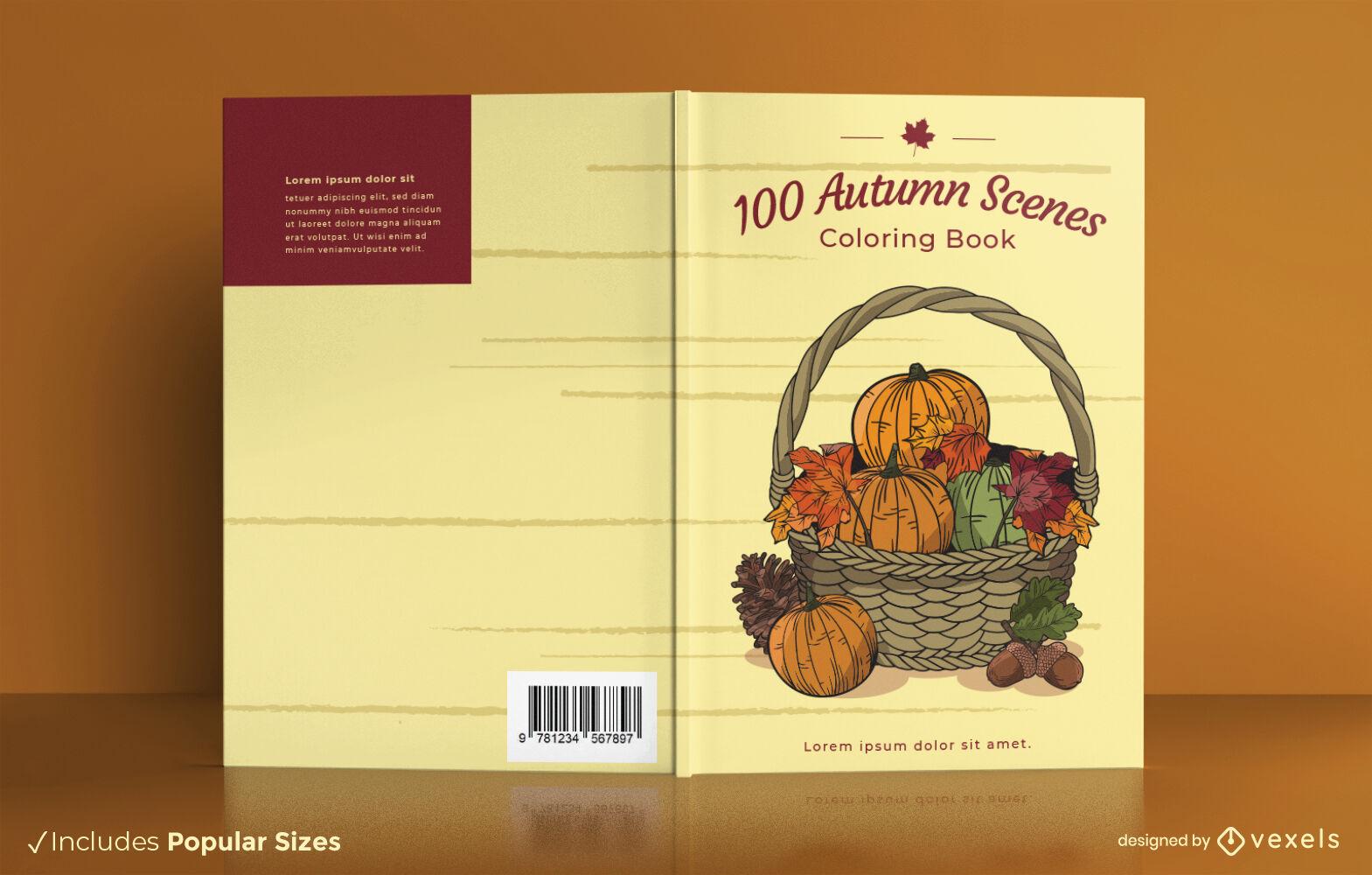 Diseño de portada de libro de cesta de temporada de otoño