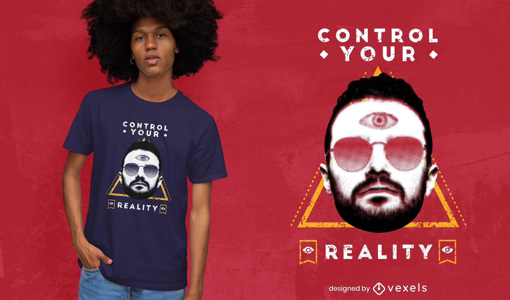 Hombre con gafas de sol y camiseta del tercer ojo psd