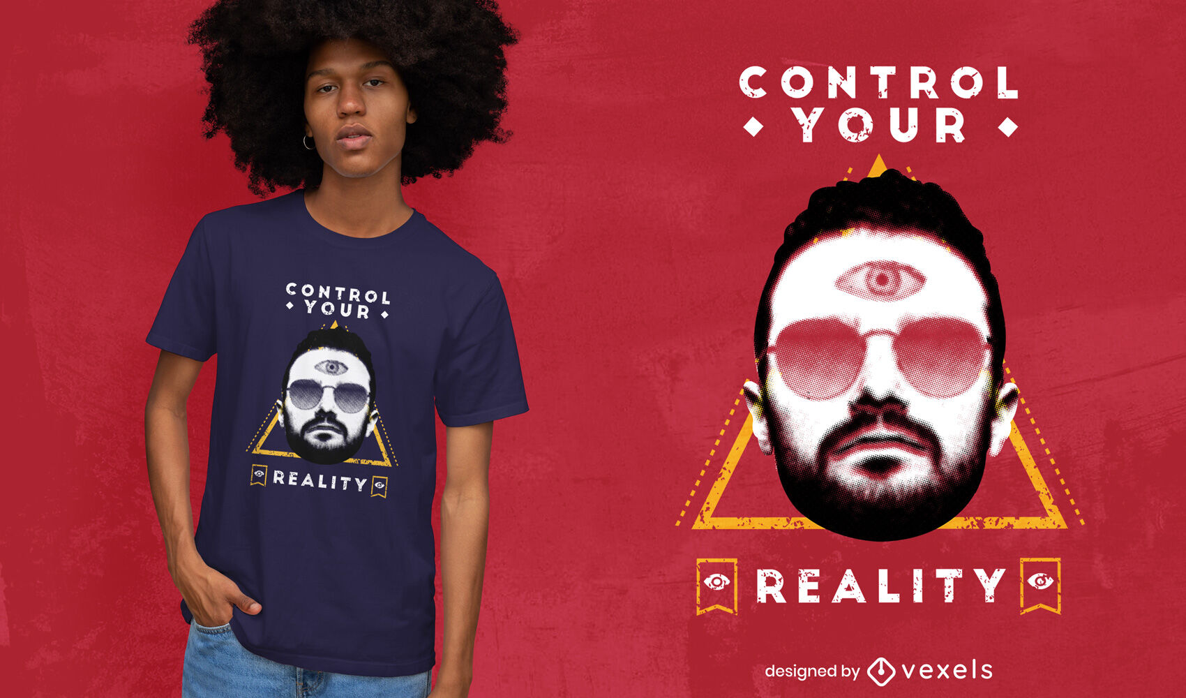 Man with sunglasses and third eye t-shirt psd