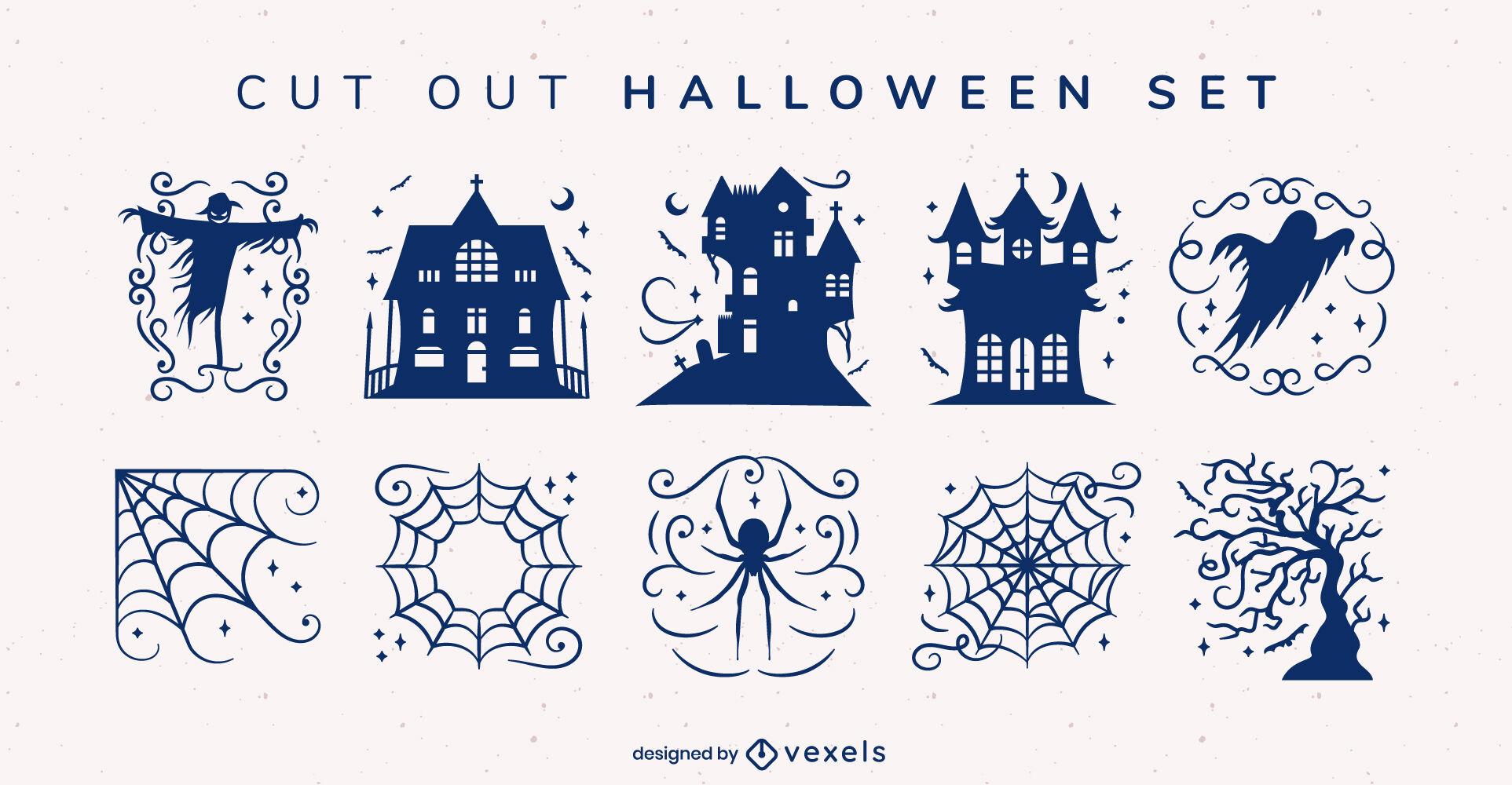 Halloween illustrations set design cut out