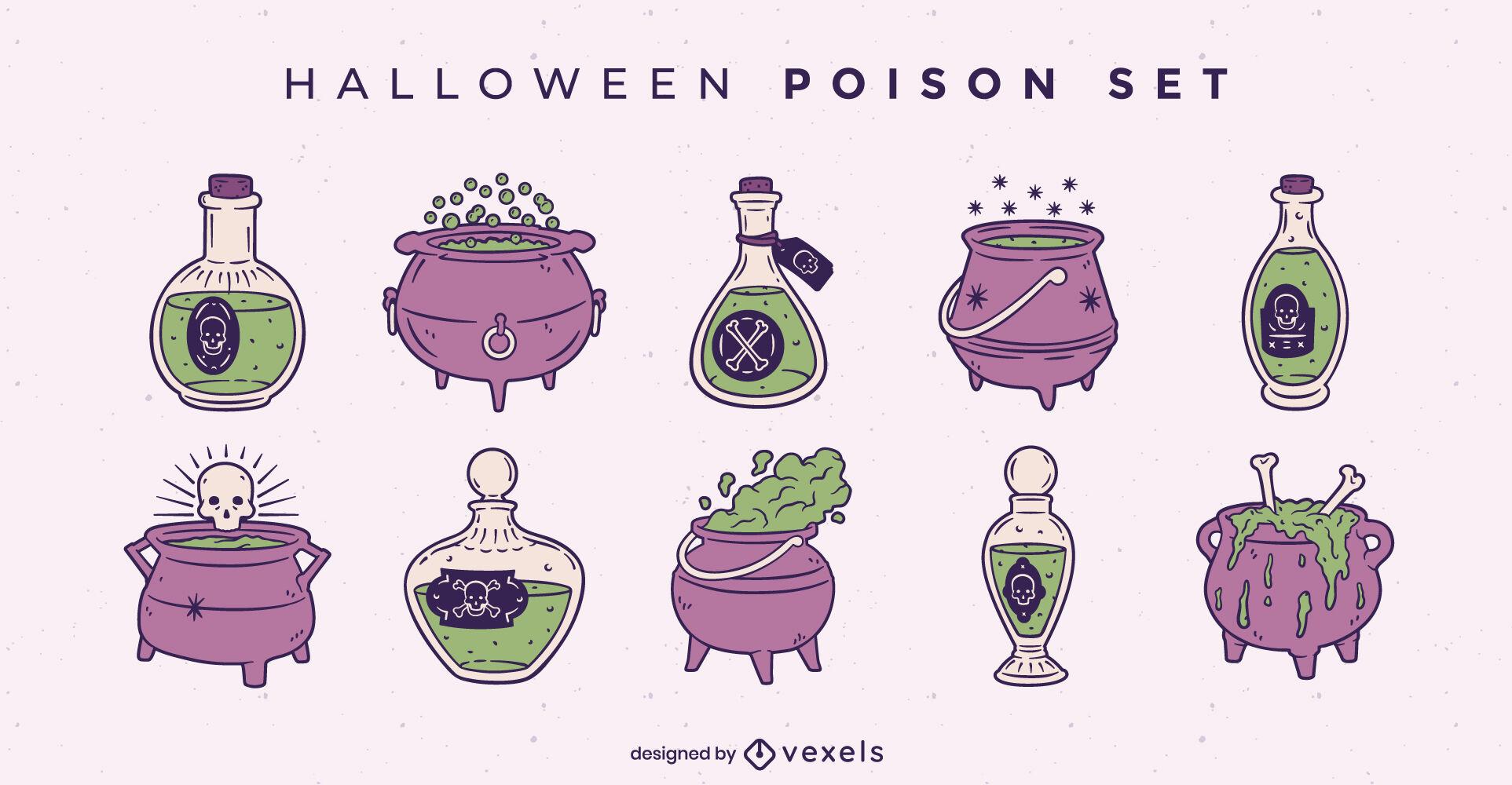 Conjunto de ilustraciones de veneno espeluznante de Halloween