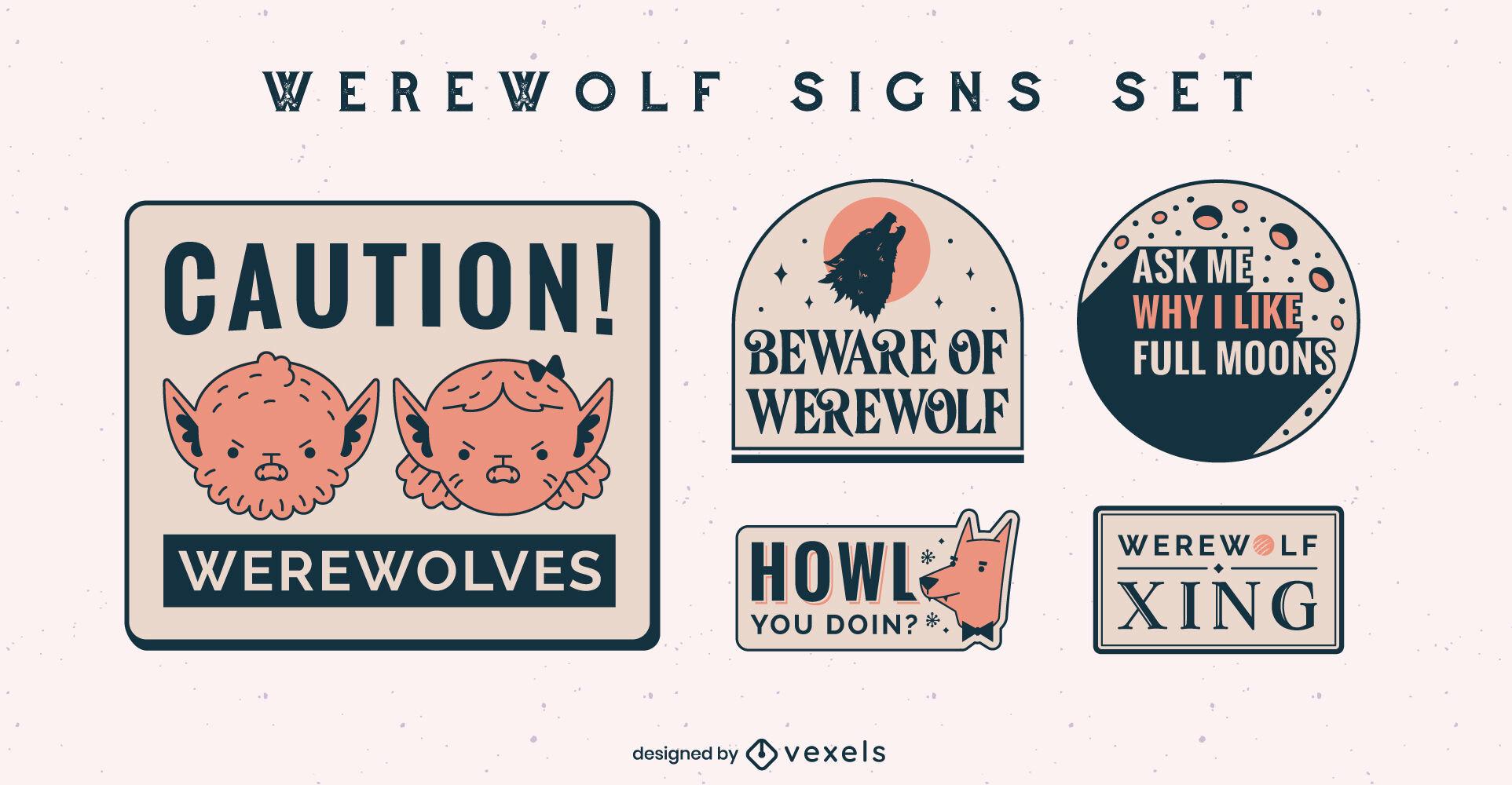 Awesome werewolf badges design