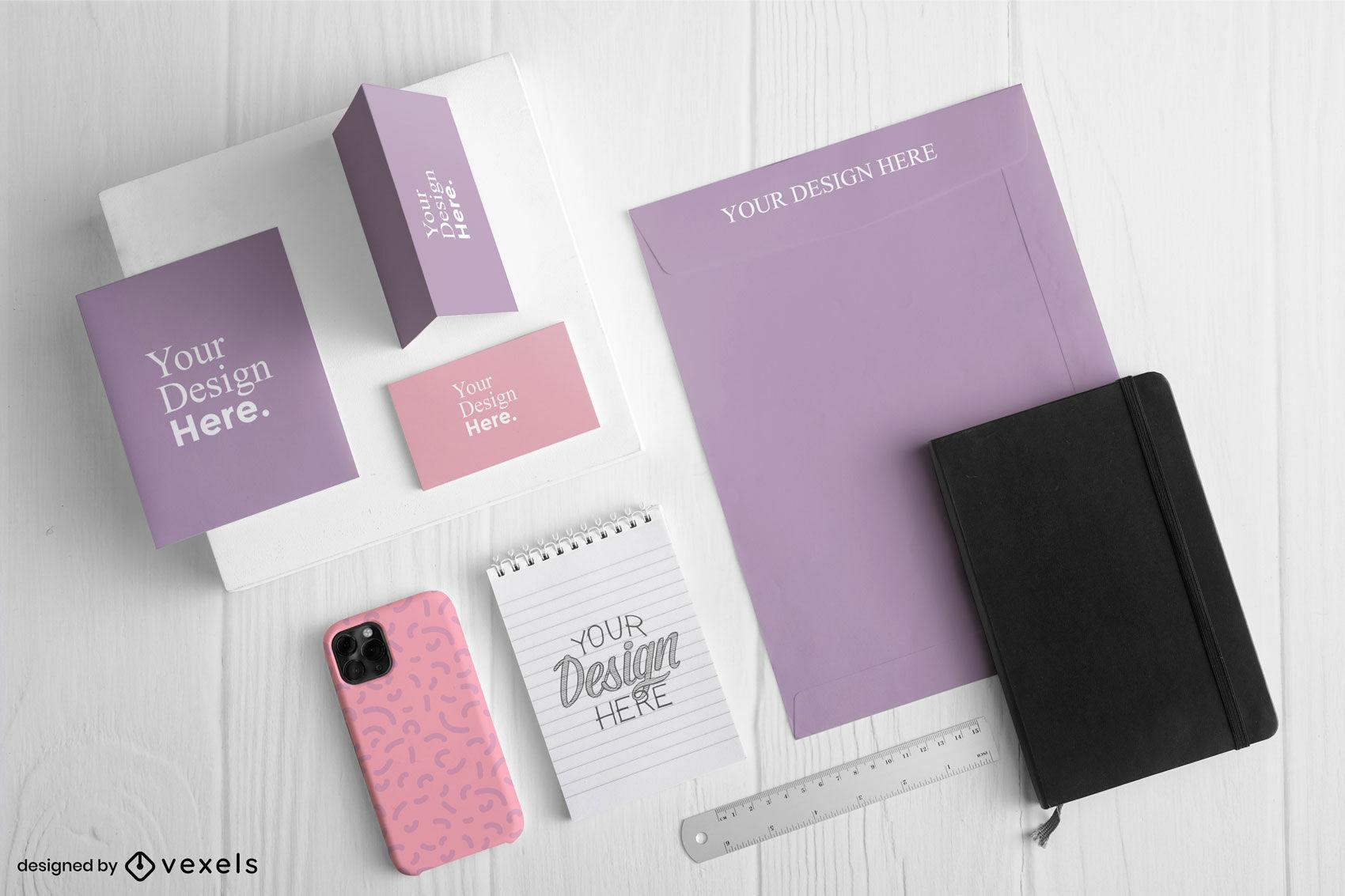 Pink and purple stationery branding kit mockup