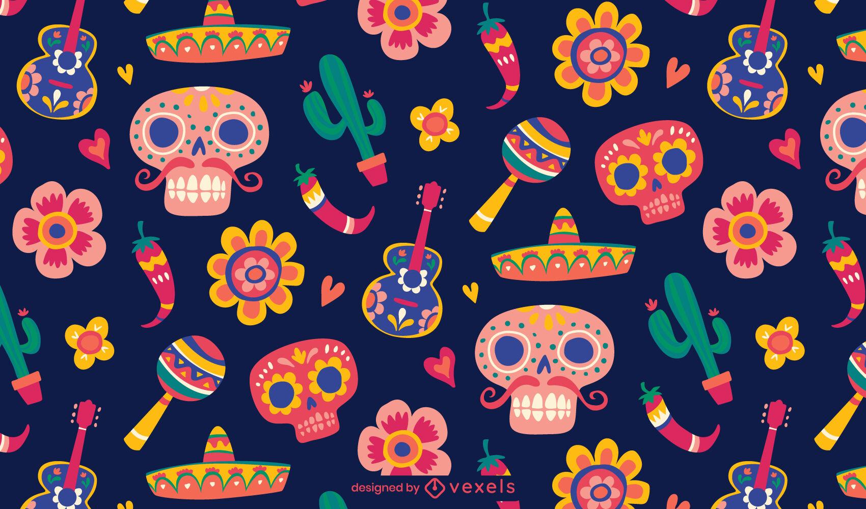 Dia dos mortos design padrão tileable