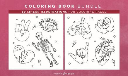Diseño de interiores de libro de colorear de anatomía