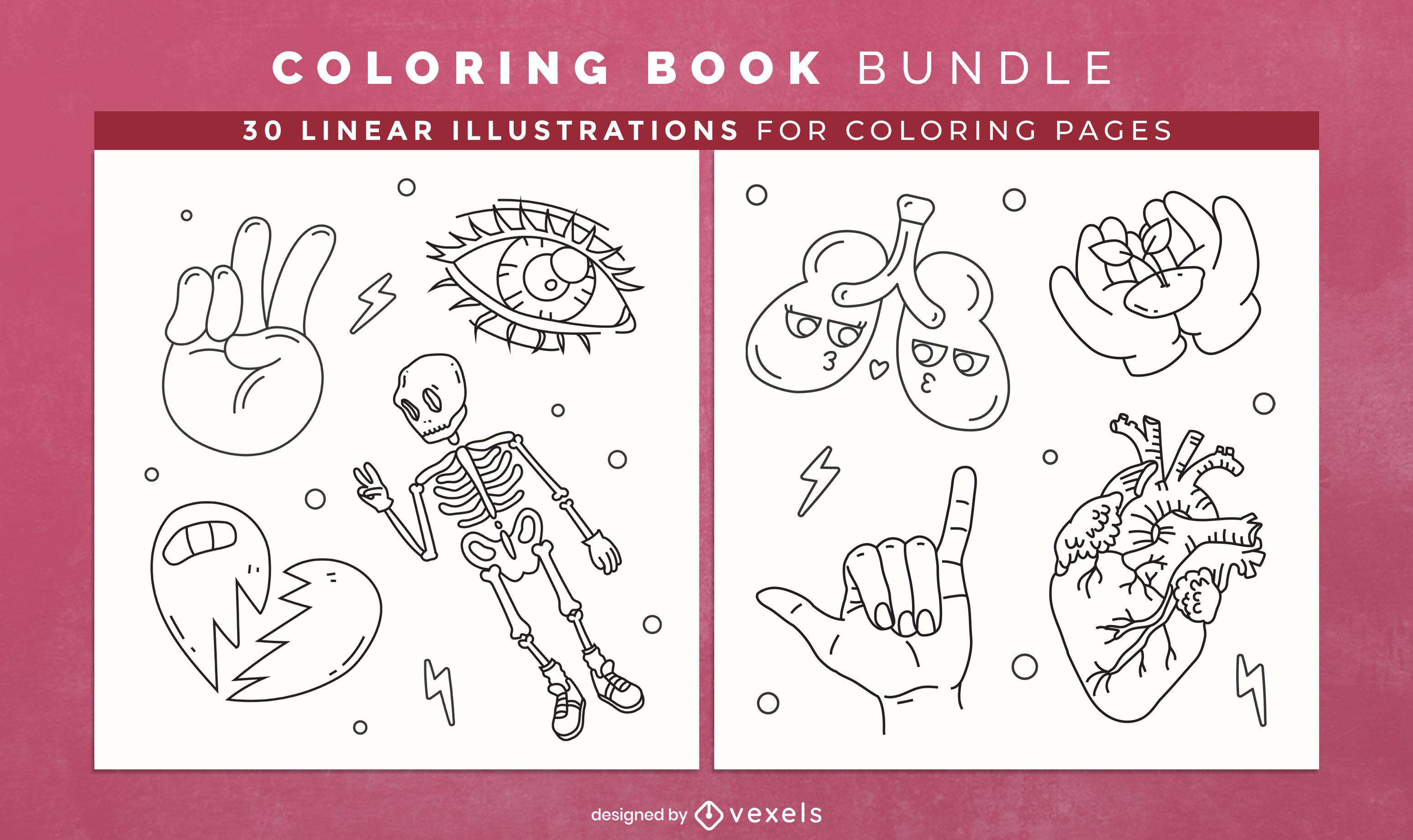Design de interiores de livro para colorir de anatomia