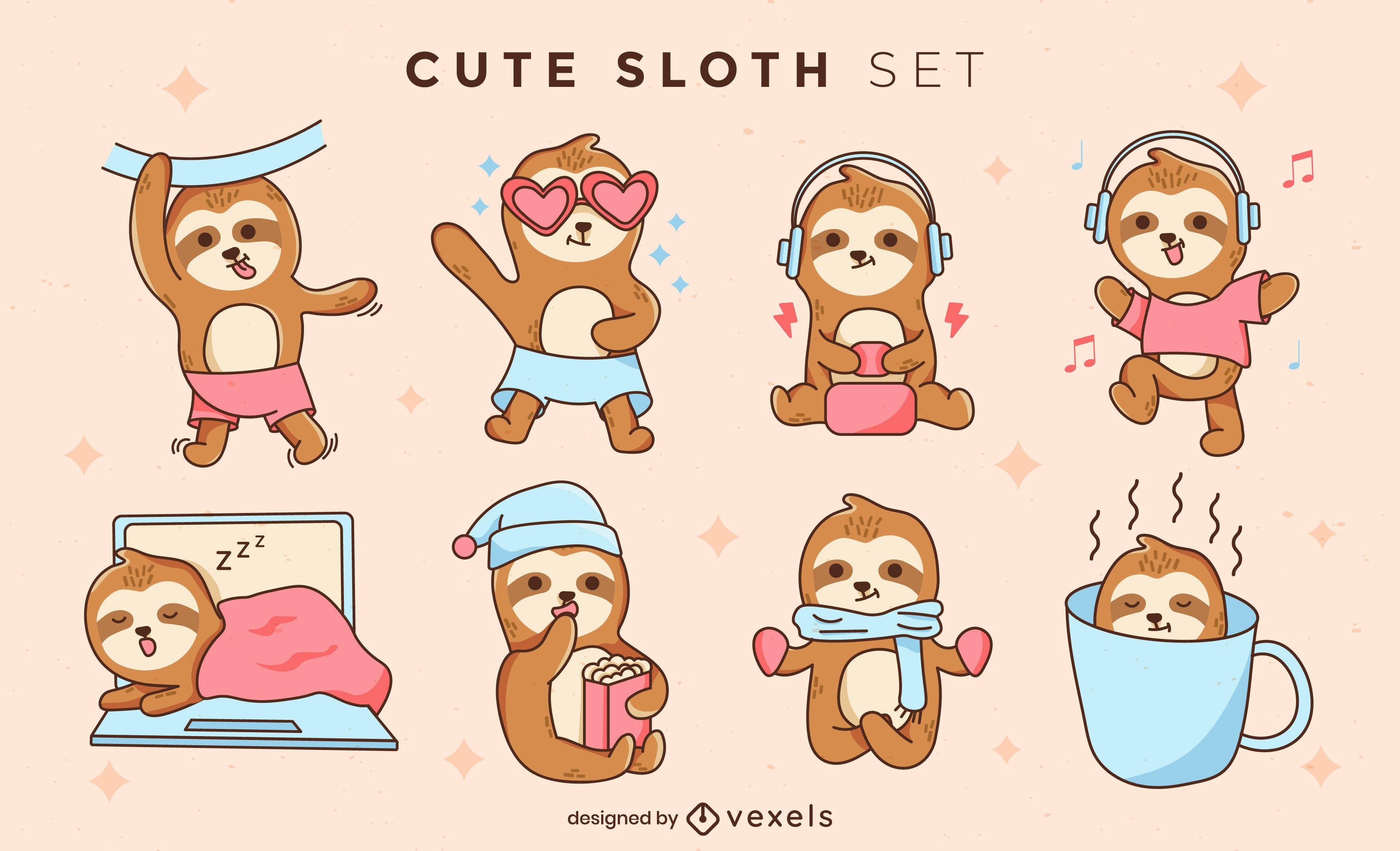 Cute sloth character illustration set design