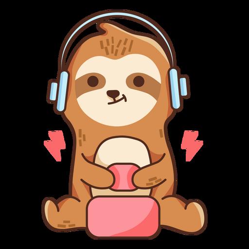 Gaming sloth color stroke