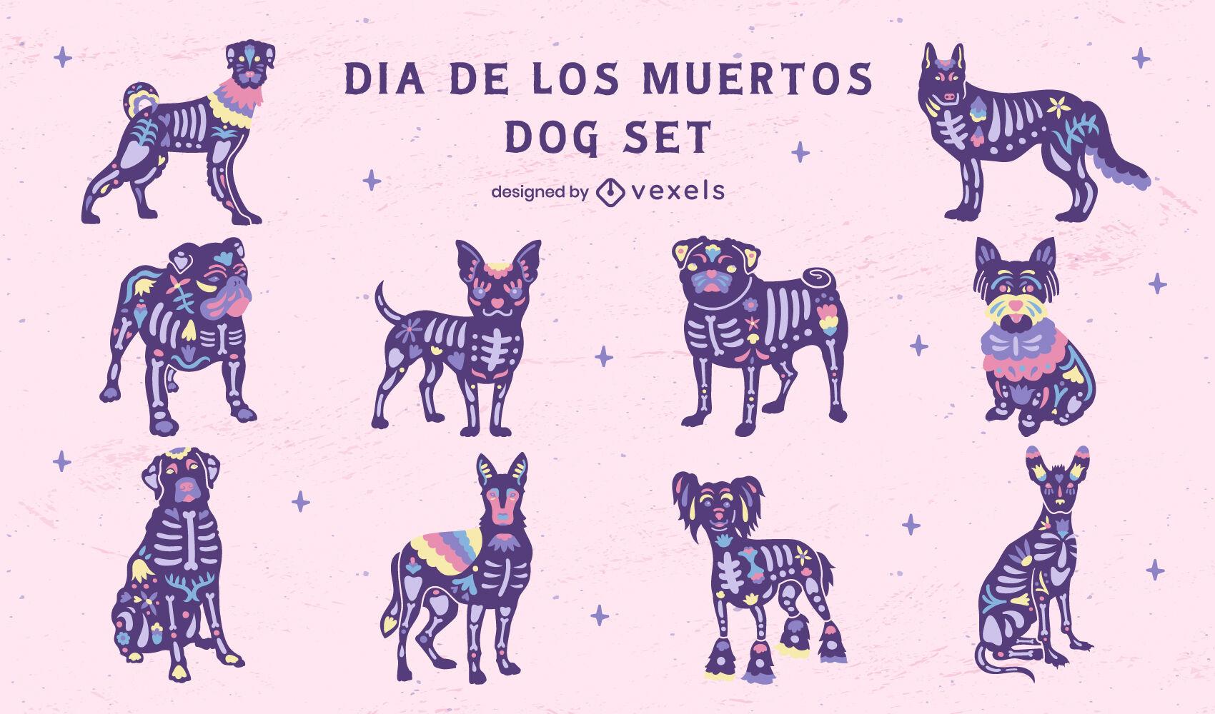 Conjunto de ilustraciones de perros del d?a de los muertos.