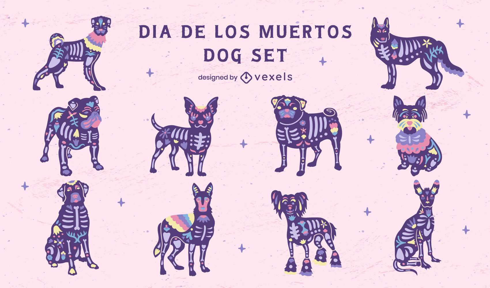Day of the dead dogs illustrations set