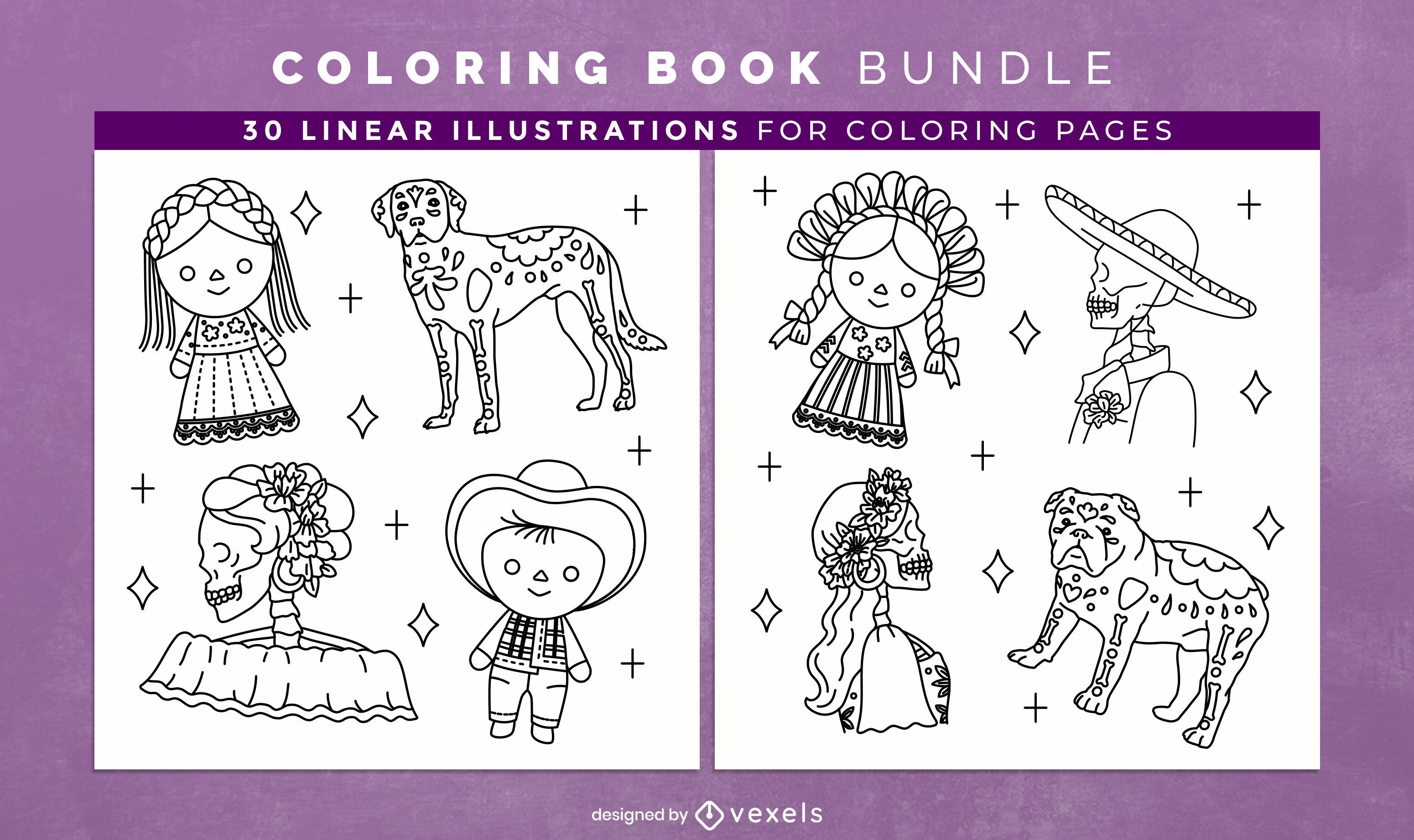 Design de interiores de livro para colorir do Dia dos Mortos