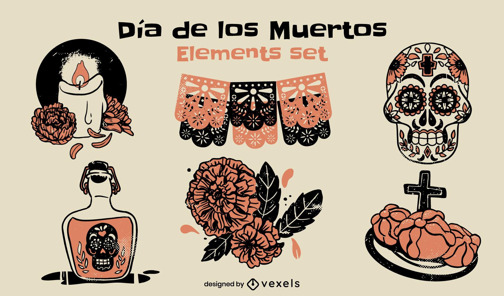 Conjunto de elementos de duotono del día de los muertos.