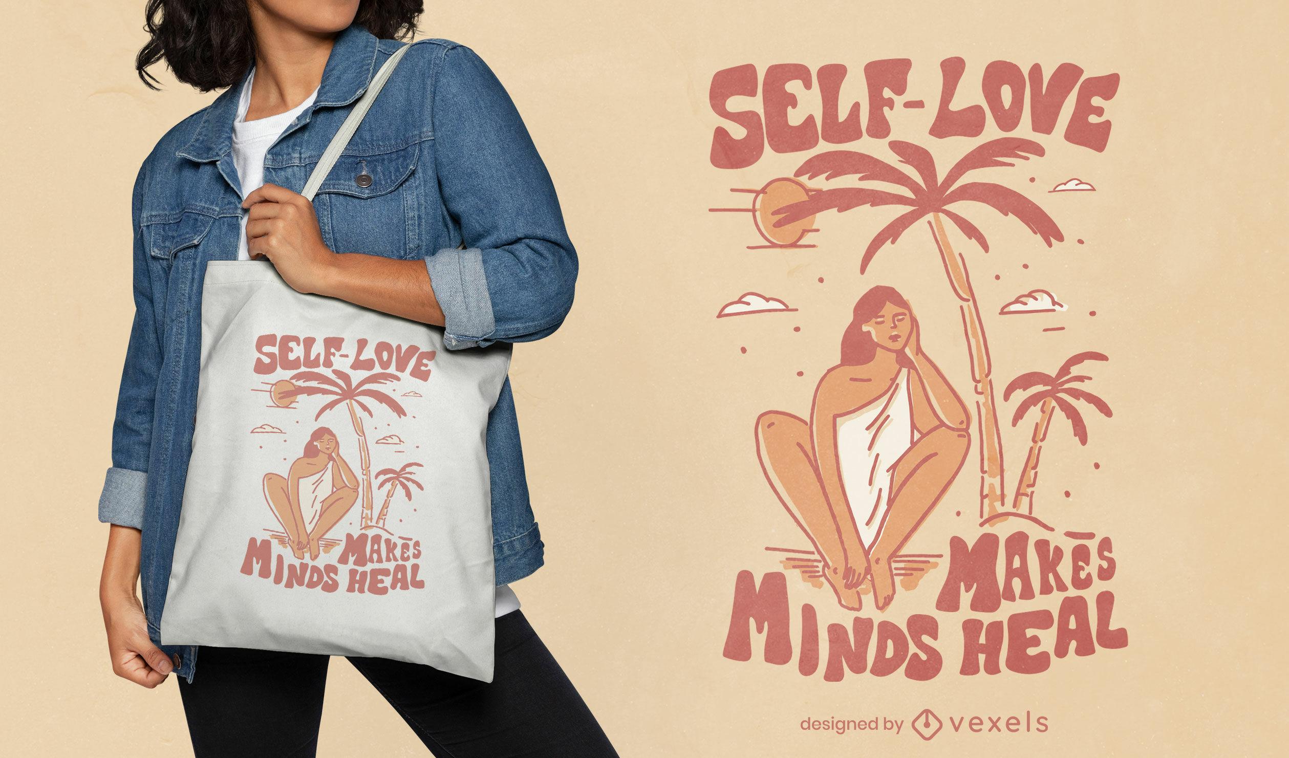 Self-love helaing tote bag design