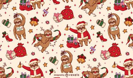 Lindo desenho de padrão de preguiça de Natal
