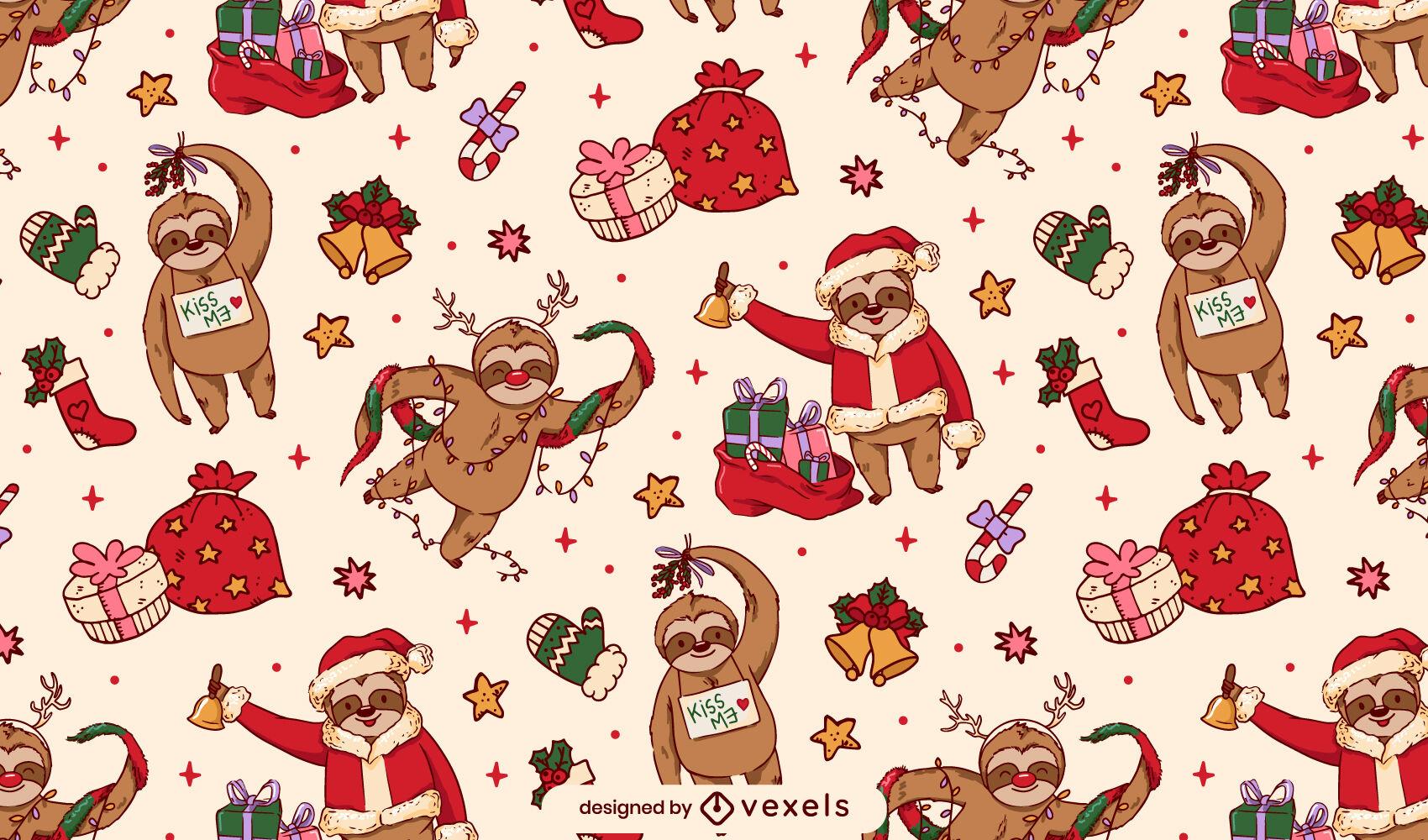 Schönes Weihnachtsfaultier-Musterdesign