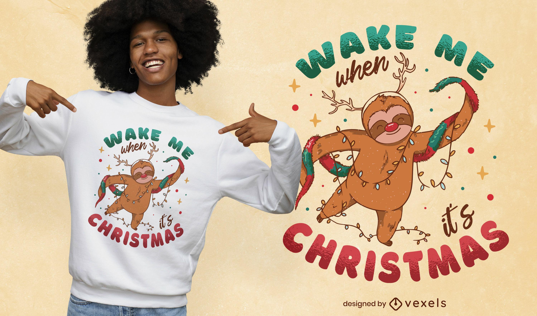 Diseño de camiseta de cita de pereza navideña