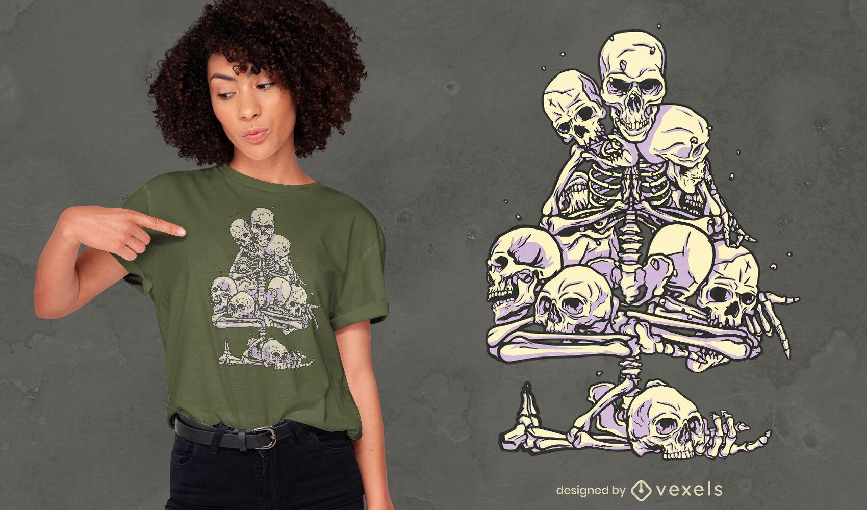 Skeleton and skulls tree t-shirt design