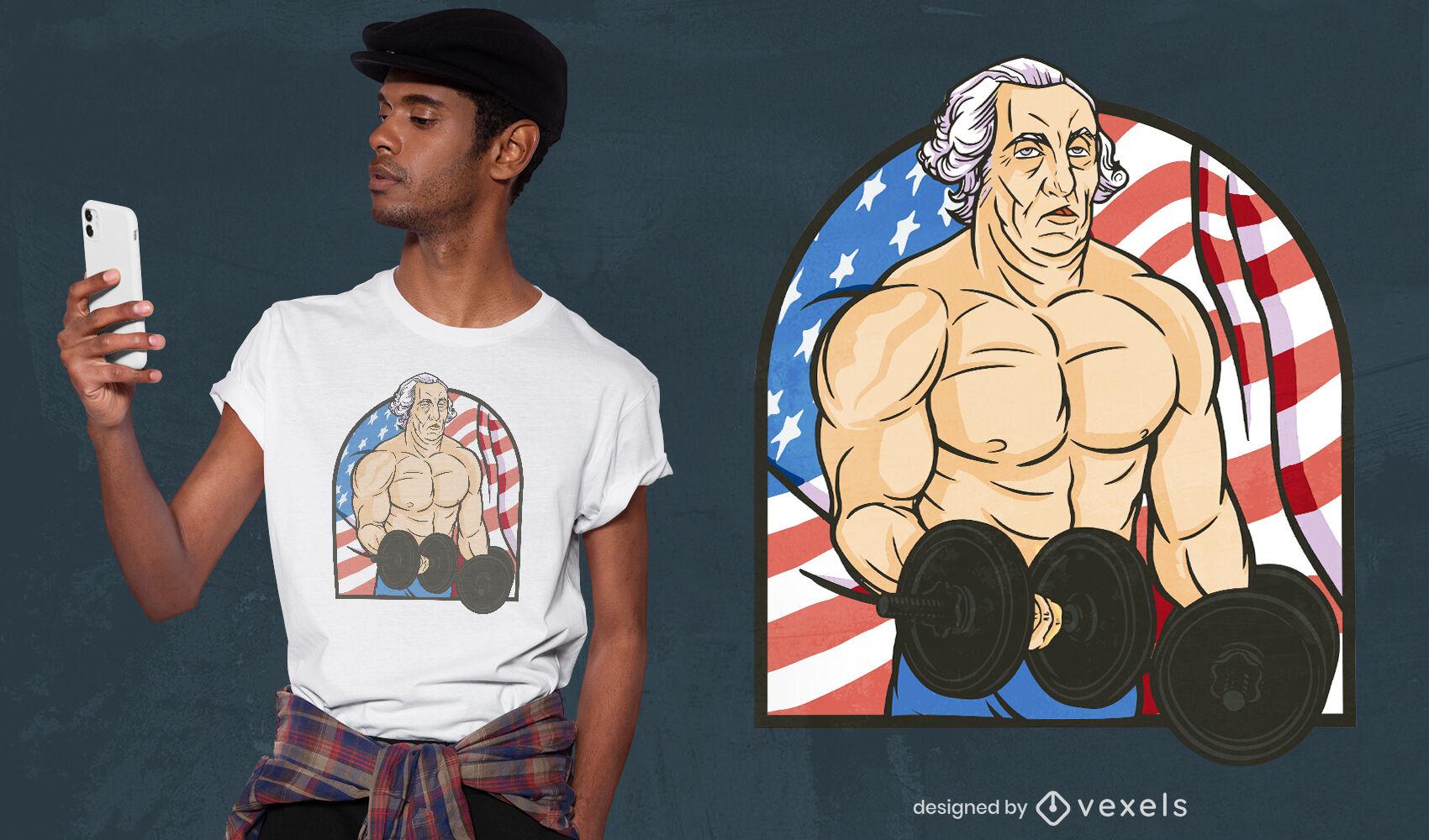 Homem musculoso com design de camiseta de pesos